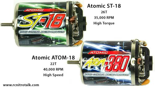 Atomic ST-18 and ATOM-18 motors for 1/18th scale