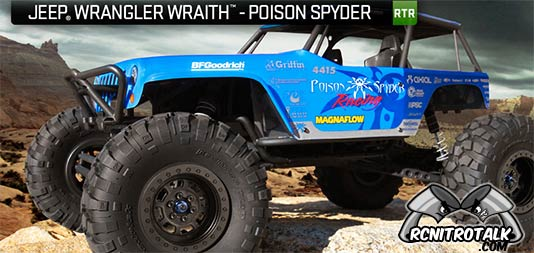 Axial Jeep Wrangler Wraith Poison Spyder Rock Racer on the rocks